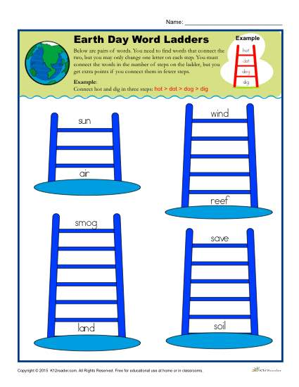 Earth Day Word Ladder Activity