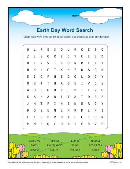 Earth Day Worksheets Word Search