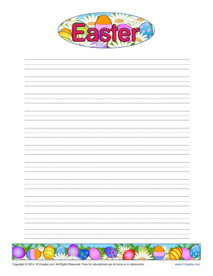 Easter Lined Writing Paper  Free Printable Lined Paper Template