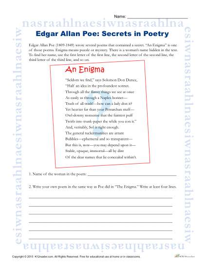 edgar allan poe reading worksheet secrets in poetry. Black Bedroom Furniture Sets. Home Design Ideas