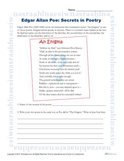 Edgar Allen Poe - Secrets in Poetry Printable Activity