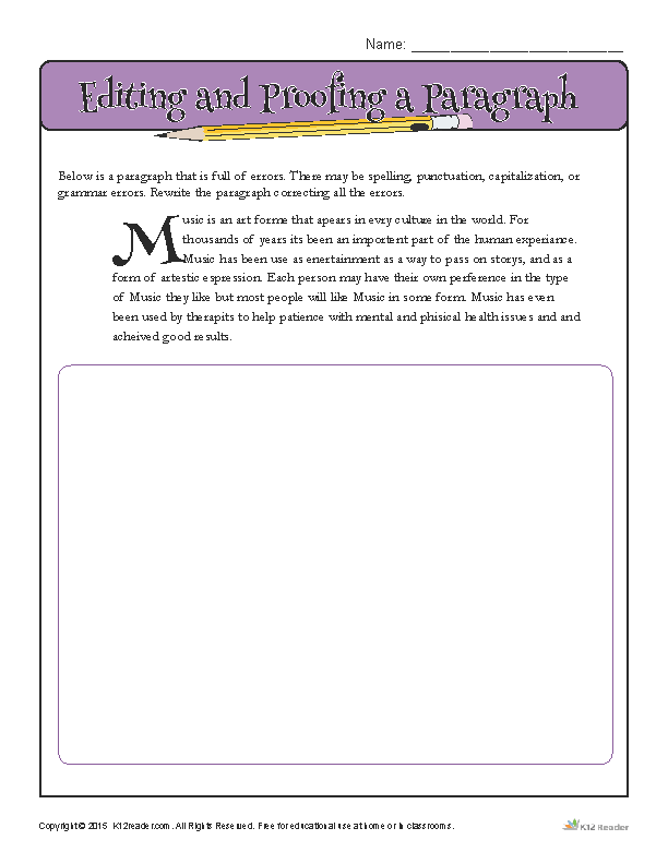 How to Editing and Proof a Paragraph - Printable Writing Activity