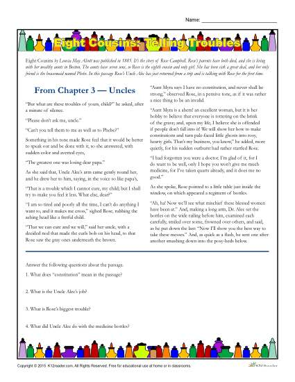 Eight Cousins: Telling Troubles - Literature Worksheet Activities