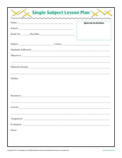 Daily SIngle Subject Lesson Plan Template Elementary - Blank daily lesson plan template