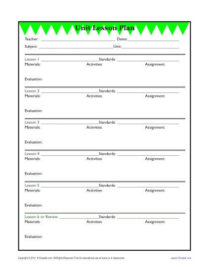 Detailed Unit Lesson Plan Template Elementary Reading - Secondary lesson plan template