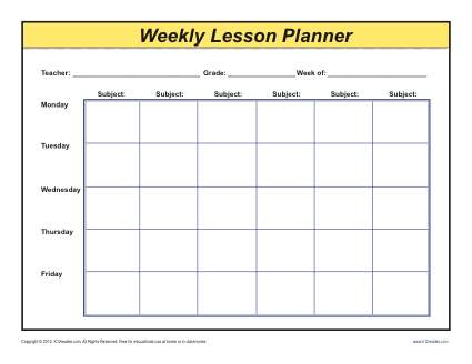 Weekly detailed multi class lesson plan template elementary for 6 week lesson plan template
