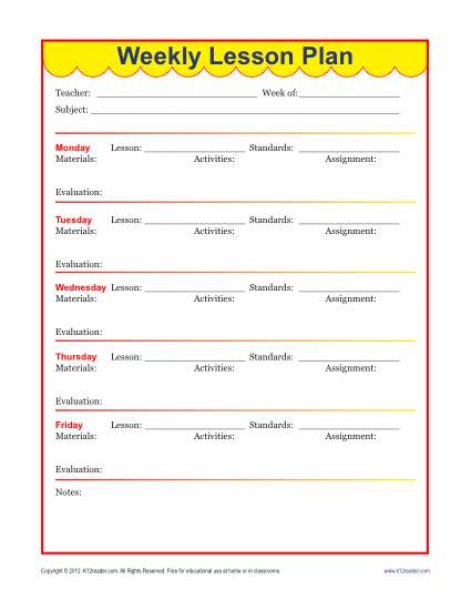 Weekly Detailed Lesson Plan Template Elementary - Free lesson plans templates
