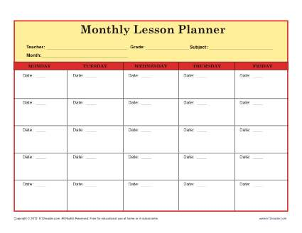 Elementary School Monthly Lesson Plan Template