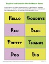 English and Spanish Words Match Game