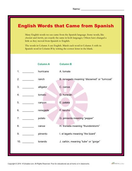 English Words that came from Spanish - Printable Activity
