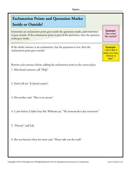 Exclamation Points and Quotation Marks Worksheet Practice Activity