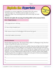 Hyperbole Worksheet Practice Activity - Explain the Hyperboles