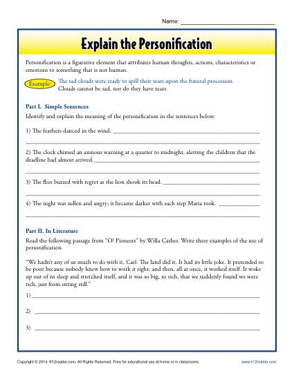 Explain the Personification - Free, Printable Worksheet Lesson Activity