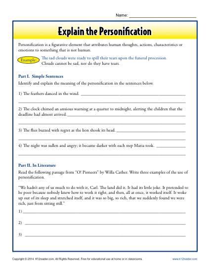 Explain the Personification | Figurative Language Worksheets