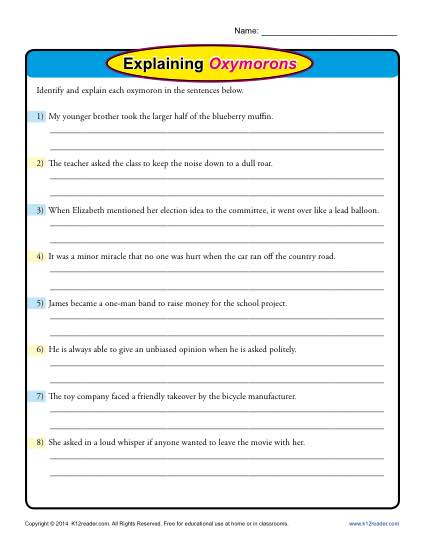 Explaining Oxymorons - Free, Printable Worksheet Lesson Activity