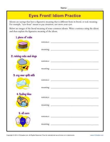 Idiom Practice Worksheet - Eyes Front!