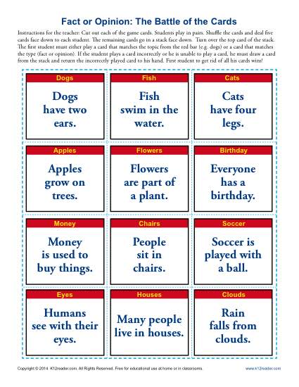 The Battle Of The Cards Fact And Opinion Worksheets For