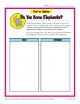 Fact and Opinion Worksheet - Do You Know Elephants?