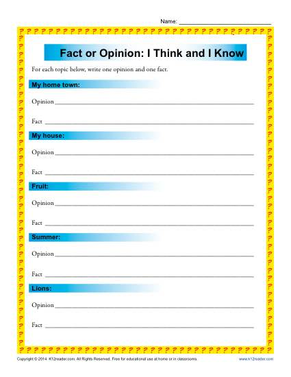 I Think and I Know | Fact and Opinion Worksheets for 3rd and 4th Grade