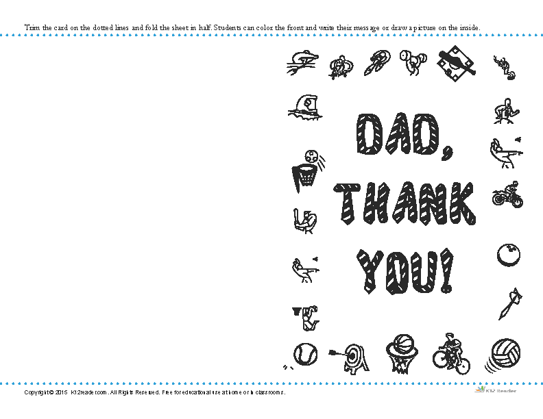 Printable Father's Day Thank You Card