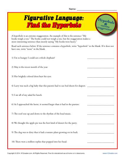figurative language find the hyperbole printable worksheets. Black Bedroom Furniture Sets. Home Design Ideas