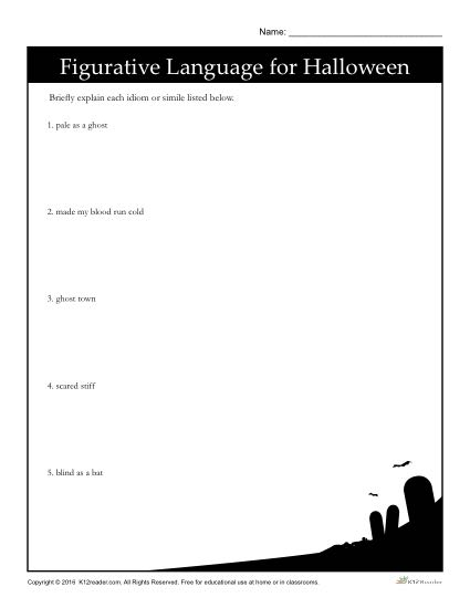 Halloween Figurative Language Activity - Explain Each Idiom or Simile