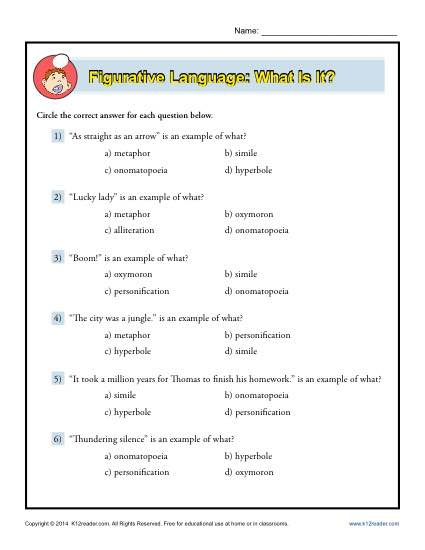 Figurative Language: What Is It? | Worksheet
