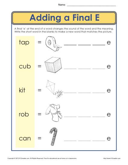 Adding a Final E - Printable Vowel Practice Activity for Kids
