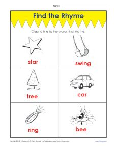 Find the Rhyme Vowel Activity for Kids!