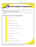 Find the Subject Complement - Printable Reading Worksheet