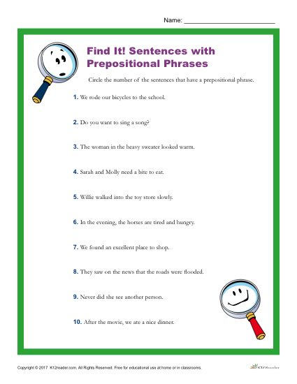 Which of These Sentences Have a Prepositional Phrase?