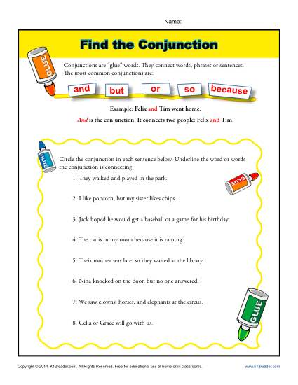 Find the Conjunction Worksheet Printable Activity