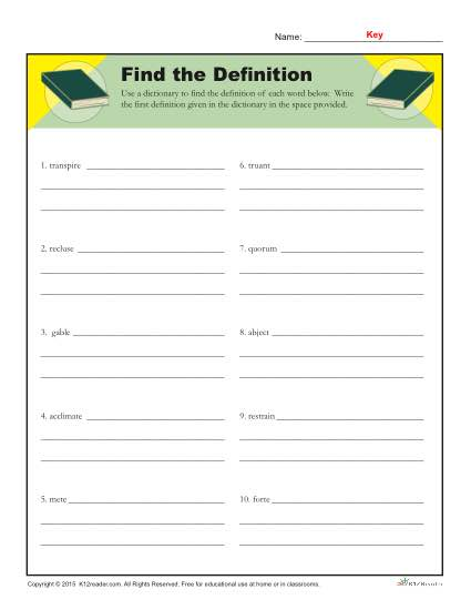 Using the Dictionary Prinbtable Activity - Find The Definition