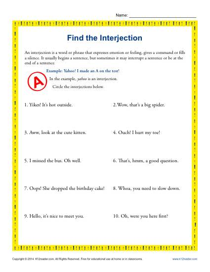 Find the Interjection | 5th Grade Grammar Worksheets