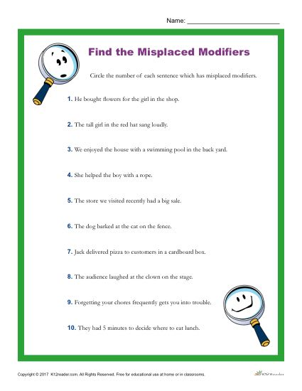 English worksheets: Misplaced and Dangling Modifiers