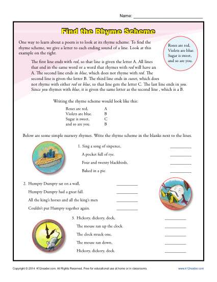 Find the Rhyme Scheme Poetry Activity