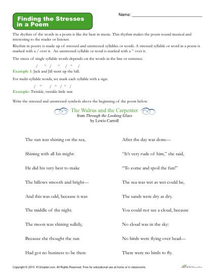 Poetry Worksheet Activity - Finding the Stresses in a Poem