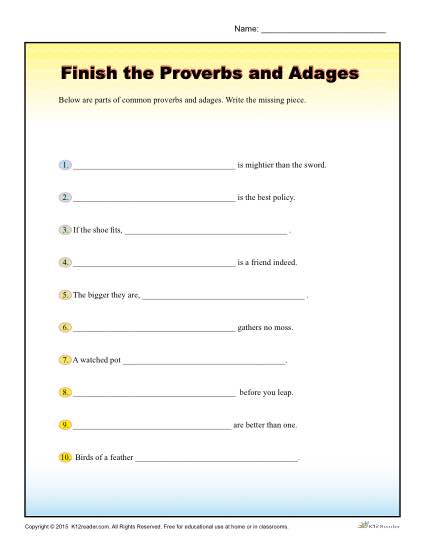 finish the proverbs and adages worksheet for 4th 5th grade. Black Bedroom Furniture Sets. Home Design Ideas