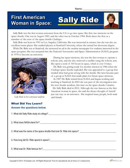 Printable Reading Worksheet - First American Woman in Space
