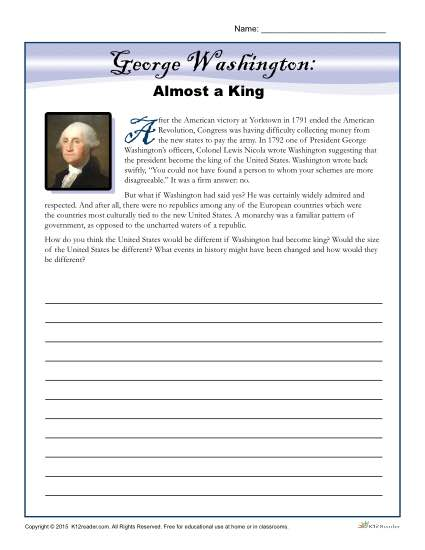 Washington's Birthday Printable Activity - Almost a King