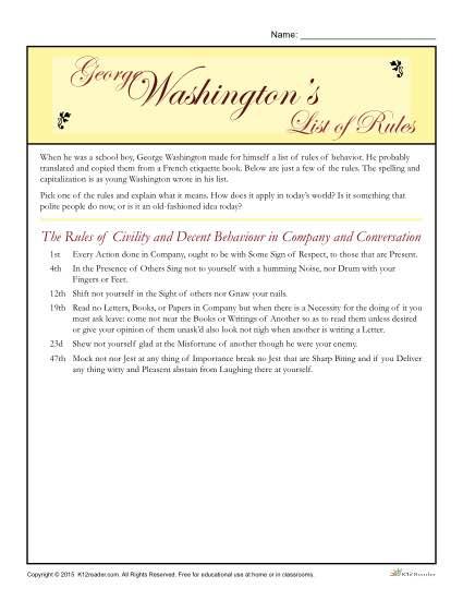 Washington's Birthday Printable Activity - List of Rules
