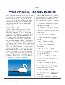 Word Detective Ugly Duckling Context Clues Worksheets