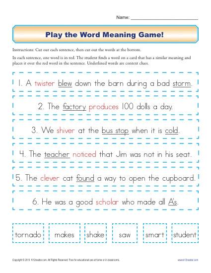 Play the Word Meaning Game | Context Clues Worksheets for 2nd Grade