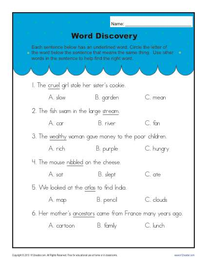Context Clues Worksheets For 2nd Grade Word Discovery