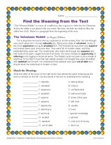 Finding the Meaning from the Text - Context Clues Activity