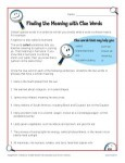 Finding the Meaning with Clue Words - Context Clues Worksheet