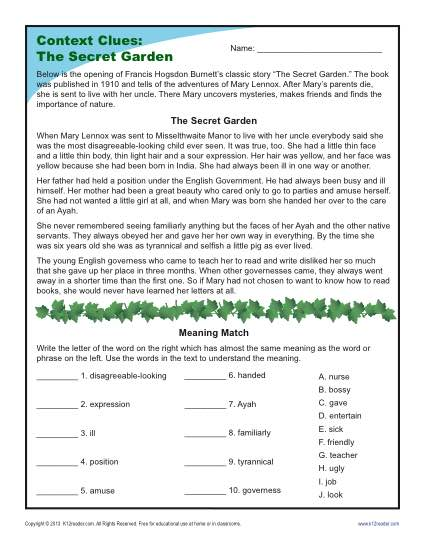 4th and 5th Grade Context Clues Worksheet - The Secret Garden