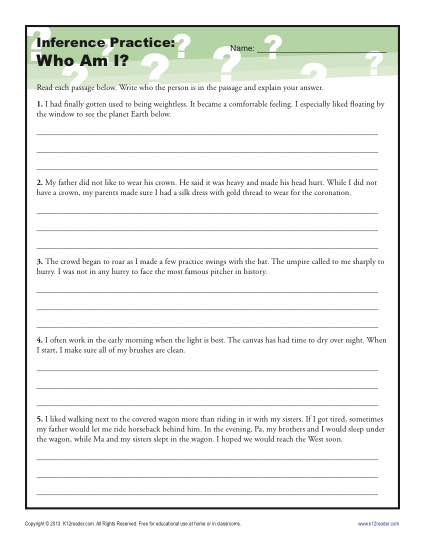 Where Am I? Inference Worksheet For 4th And 5th Grade Third Grade Reading Worksheets 4th And 5th Grade Worksheet Inference Practice Who Am I?