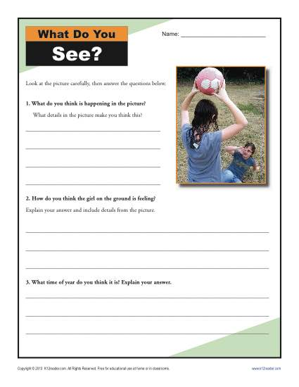 What Do You See Inference Worksheets For 4th And 5th Grade