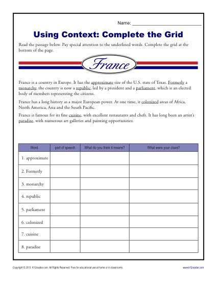 context clues worksheets 5th grade pdf